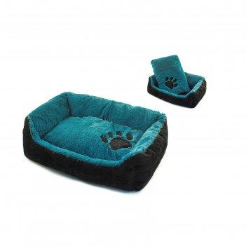 Лежанка меховая прямоугольная с подушкой, 72 х 53 х 20 см, бирюзовая