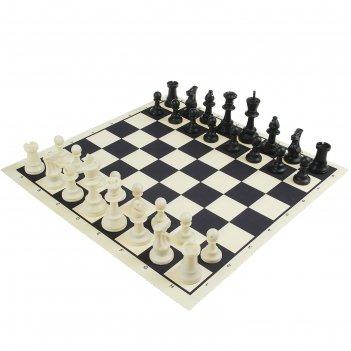 Шахматы в пакете, поле текстильное 50х50см, фигуры пластик (пешка h-4,5см,
