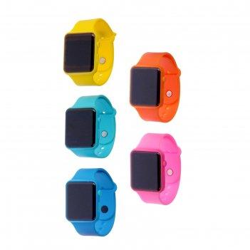 Часы наручные ларвик, электронные, ремешок силикон, микс, l=26 см
