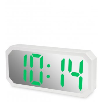 Ял-07-22/1 часы электронные сред. зеркальные (белые с зеленым циферблатом)