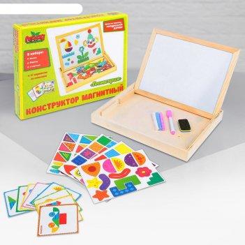 Конструктор магнитный геометрия в дерев коробке + набор игровых карточ, ме