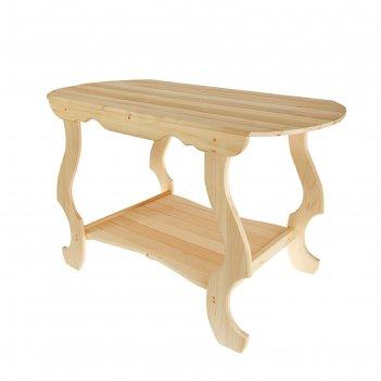 Стол с фигурными ножками с полкой 1200*630*730