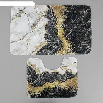 Набор ковриков для ванны и туалета «мрамор», 2 шт: 79x50, 50x39 см, цвет с