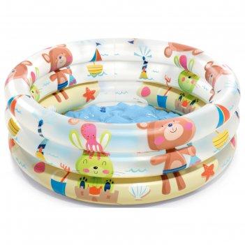 Бассейн надувной детский «зверюшки», 61 х 22 см, от 1-3 лет, 57106np intex