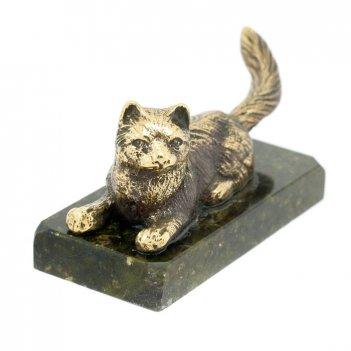 Статуэтка кошка лежащая бронза змеевик