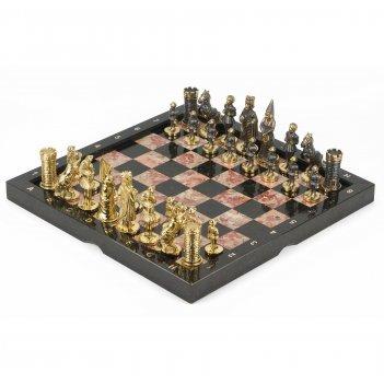 Шахматы камелот бронза креноид змеевик 360х360 мм
