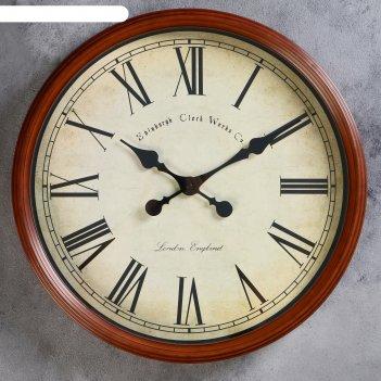 Часы настенные классика пластик коричневые под старину, римские цифры 50*5