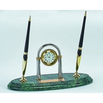 Настольный набор: 2 ручки, часы, 9х23х1,8 см, мрамор . 2103-0