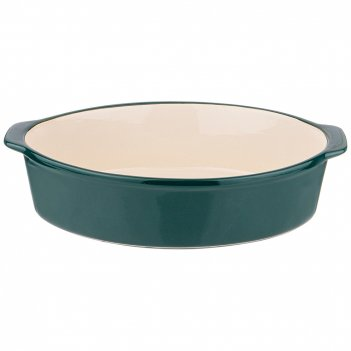 Блюдо для запекания и выпечки овальное 32,5*22*8 см зеленое без декора