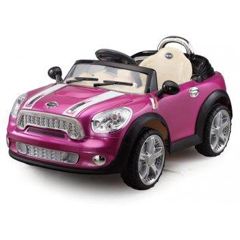 Электромобиль mini cooper с пультом розовый металлик new 2014