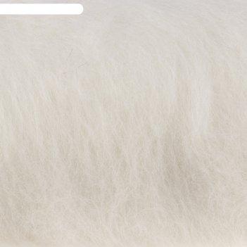 Шерсть для валяния кардочес 100% полутонкая шерсть 100гр (205 белый)