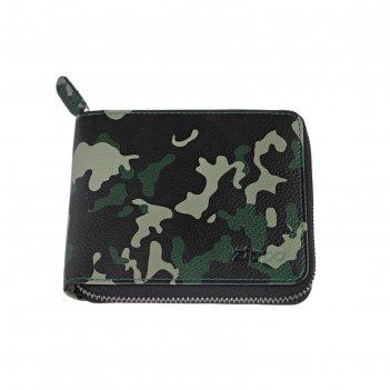 Кошелёк zippo, зелёно-чёрный камуфляж, натуральная кожа, 12x2x10,5 см