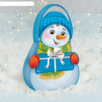 Набор для шитья сумочка из фетра. снеговик с подарочком