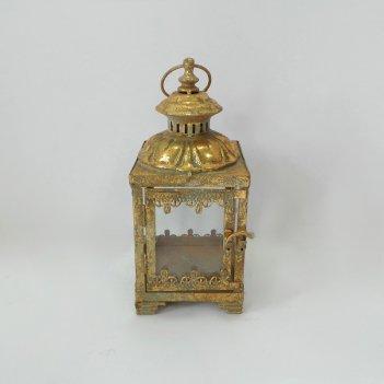 Фонарь садовый, под свечу,  золотая патина