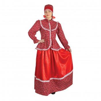 Русский народный женский костюм забава, головной убор, блуза, юбка, р-р 48