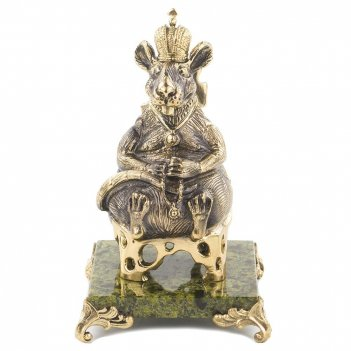 Сувенир крыса-король змеевик бронза 70х70х115 мм 360гр.