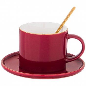 Чайная пара с ложкой lefard break time 250 мл красная (кор=24наб.)
