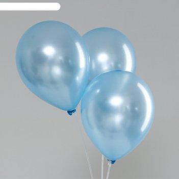 Шар латексный 10, перламутровый, набор 100 шт, цвет голубой