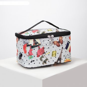 Косметичка-сумочка, отдел на молнии, с зеркалом, цвет серый