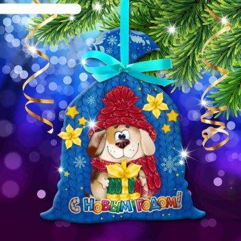 Новый год, вышивка лентами на мешочке собачка, основа 25*35 см