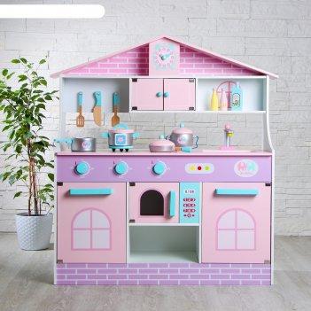 Игровой набор, кухонный модуль домик деревянная посуда в наборе