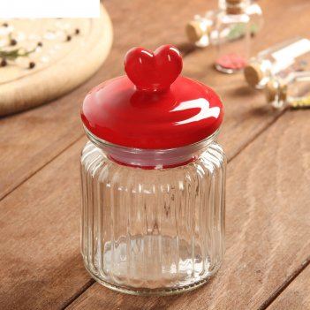 Банка для сыпучих продуктов сердечко 0,3 л, 8х8х14,3 см, цвет красный