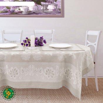 Столовый набор этель елена, скатерть 150х150 см, салфетки 45х45 см-4 шт.