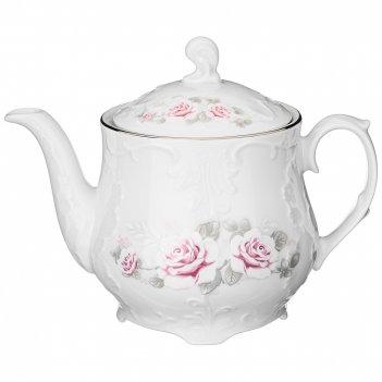 Чайник заварочный рококо бледная роза платина 1,1л