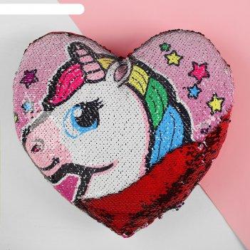 Подушка сердце единорог двусторонние пайетки, цвет розовый-красный