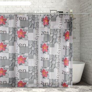 Штора для ванной 180х180 см камни и цветы, полиэстер