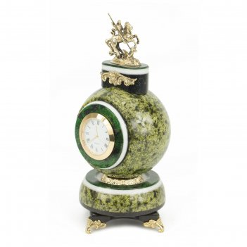 Часы георгий победоносец змеевик бронза 105х105х210 мм 1300 гр.