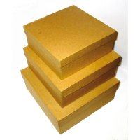 Набор из 3-х коробочек папье-маше квадрат 230x230x100мм