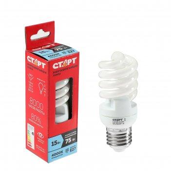 Лампа энергосберегающая старт, 15 вт, e27, 4000 k, 230 в, дневной белый