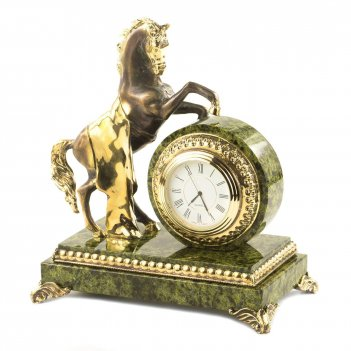 Часы конь с попоной змеевик бронза 165х100х185 мм 2200 гр.