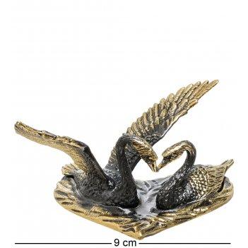 Am-1484 фигурка лебеди (латунь, янтарь)