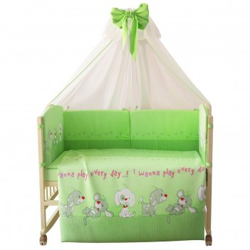Комплект в кроватку «веселая игра», 7 предметов, цвет зелёный