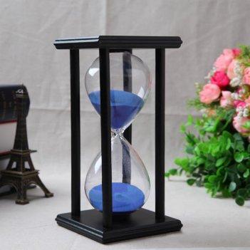 Песочные часы черные с голубым песком на 60 минут