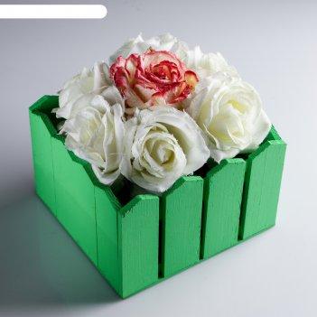 Ящик-кашпо подарочный заборчик, зелёный