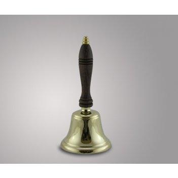 Колокол с деревянной ручкой из латуни, италия (h-22 см)