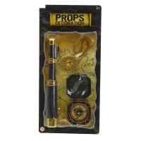 Набор пирата 3 предмета: медальон, компас, труба
