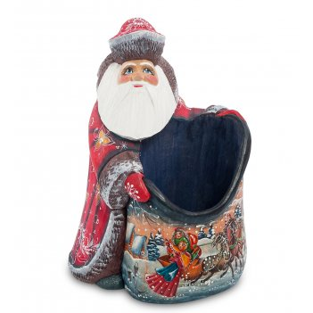 Фигурка дед мороз с мешком (резной) 18см
