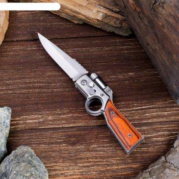 Нож складной автоматический сувенирный, рукоять под дерево с кольцом (с кн