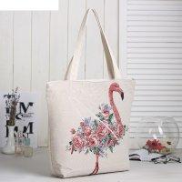 Сумка текстильная цветы, 36*10*40, отд на молнии, подклад, бежевый