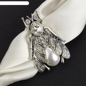 Магнит для платка муха жемчужная, цвет белый в серебре