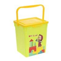 Ящик для игрушек маша и медведь с крышкой и ручкой, цвет салатовый
