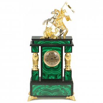 Часы георгий победоносец малахит позолота 210х90х420 мм 9000 гр.