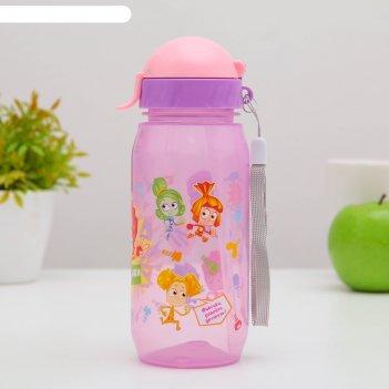 Бутылка для напитков с трубочкой детская 400 мл фиксики мультяшки файер и