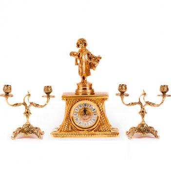 Часы настольные зима с канделябрами на 2 свечи, набор из 3 предм.