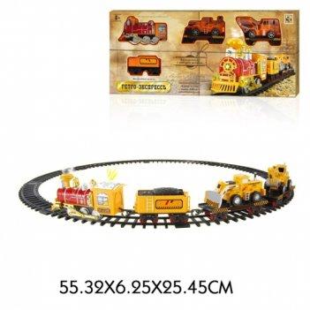 1toy ж/д ретро  экспресс, свет,звук, дым,паровоз, 3 вагона, 12 деталей