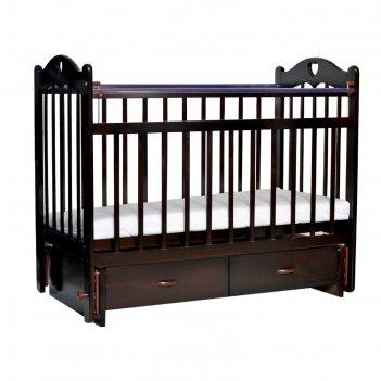 Кроватка детская everflo love chocolate c ящиком и маятником es-002